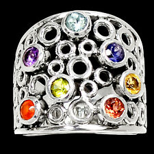 Healing Chakra Amethyst 925 Sterling Silver Ring Jewelry s.6.5 RR6765