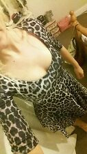 Ladies cute leopard print skater dress size 10  worn once