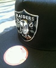 Oakland Raiders metal shield snapback black hat. RAIDER NATION! Rare Hat.
