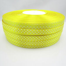 Bulk 10 Yards 3/8 9mm Polka Dot Ribbon Satin for Craft Supplies roll Yellow ZY1