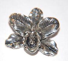 Déclaration pendentif ~ texturé 3D orchid ~ grande taille - 38mm-argent ancien