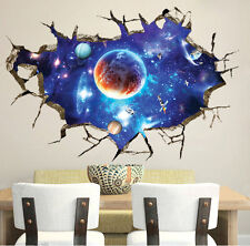 3D Outer Space Universe Removable Wall Sticker Boys Nursery Decor Decal Mural AU