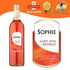 PERSONALISED WHITE ZINFANDEL WINE BOTTLE LABEL BIRTHDAY ANY OCCASION GIFT