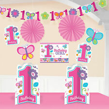 10 Piece Sweet Pink Butterfly Girl's Happy 1st Birthday Party Decorating Kit