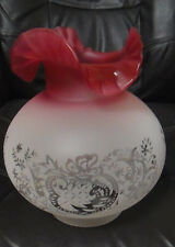 """4"""" Fitter CRANBERRY TINTED SCALLOPED ETCHED FILIGREE GLASS GAS GLOBE LAMP SHADE"""