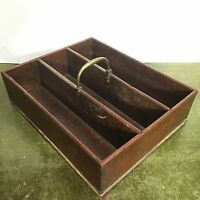 Antique 19th Century Mahogany Cutlery Tray / Box Brass Handle Dovetail Joints