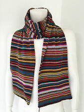 PAUL SMITH DOUBLE LAYERED SIGNATURE MULTI STRIPE KNITTED SCARF MADE IN ITALY