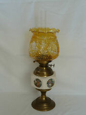 Vintage Ceramic and Brass Coloured Oil Table Lamp with Yellow Glass Shade