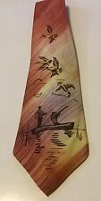 Vintage Hand Painted Duck Hunters Necktie Tie Rust