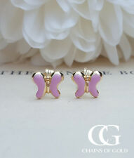 Solid 9ct Yellow Gold Butterfly Children's Babies Stud Earrings
