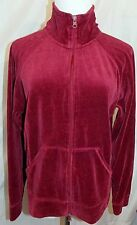 NYL New York Laundry Velour Track Jacket Cranberry Red Zipper Front size Large