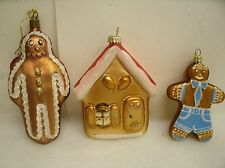 Lot of 3 Christmas Ornament Gingerbread Boy House