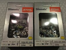 "2 STIHL 16"" RM 60 Drive Link 3/8 .050 CHAINS NEW IN BOX"