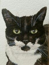 ORIGINAL Watercolor Painting ACEO Cat tuxedo b&w art Artist Animal Halie French