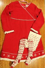 Hanna Andersson Girls Red Corduroy Dress TIGHTS Snowflakes Holiday eu 120