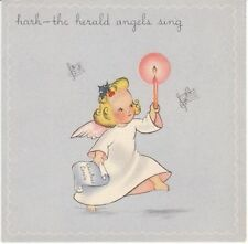 Vintage Christmas Card Angel and Candle 1943 Rynart Hark the Herald Angels Sing