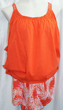 26/28 Women's Orange Cacique 2 PC Sleepwear Tank Top/Shorts 100% Cotton NWT!