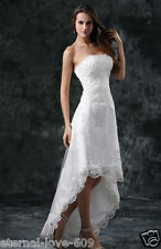 High Low White Ivory Lace Bridal Gown Wedding Dress Custom Size 6 8 10 12 14 16+