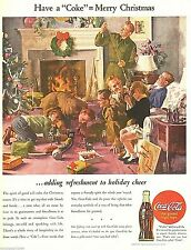"1944 Ad Coca-Cola coke Merry Christmas world war 2 art Print Ad 10.5""x13.5"""