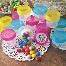** 30 Empty Plastic Jars 1oz Containers Party Favors Pink Yellow Aqua 4304 USA