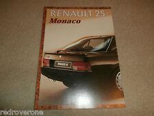 Renault 25 Monaco Brochure  1986.Collectors condition