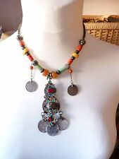 Berber Necklace, Antique Amber, Coral and Amazonite, Silver Enamel Coin Pendant