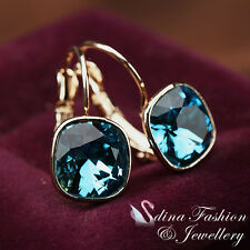 18K Rose Gold Plated Genuine Swarovski Crystal Gorgeous Sapphire Hoop Earrings