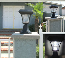 2 Solar Fence Gate Lamp Post Lights 4 LEDs For Wood Mason Stone Brick Concrete