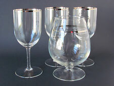 Set Of 3 Crystal Wine Glasses w/Silver Rim & Footed Wine Carafe w/Silver Bands