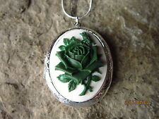 DARK GREEN ROSE ON WHITE CAMEO SILVER PLATED LOCKET - UNIQUE - WEDDING
