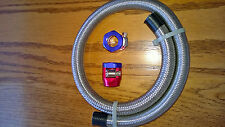 """Braided S.Steel-Flex Fuel Line Kit 5/16"""" I.D. Red/Blue Clamps 24"""" 293901 Spectre"""