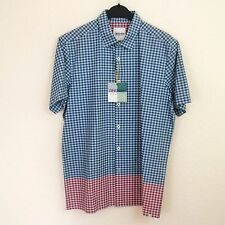"Ben Sherman Small fit 36"" - 38"" Gingham Check Cotton Shirt Short Sleeve Blue Red"