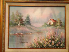 """Original Oil or Acrylic Painting Signed M Henderson """"Peaceful Rural Cabin Scene"""""""