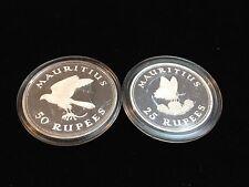 1975 Mauritius Butterfly 25 Rupee & Kestrel Gem 50 Rupee Proof Silver Coins