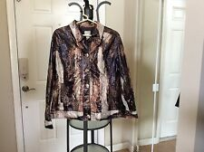 Chico's Ventana Glass Jacket. Chocolate, Size 3