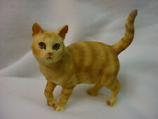 ORANGE RED TABBY CAT FIGURINE kitty kitten HAND PAINTED COLLECTIBLE Resin Statue