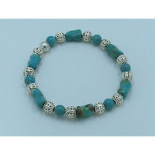 PETITE .925 Sterling Silver Natural Turquoise Kingman Turquoise Stretch Bracelet
