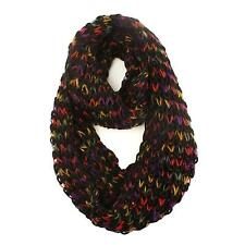 Ladies Winter Lurex Chunky Knit Loop Cowl Infinity Scarf Shawl Ski Rainbow Black