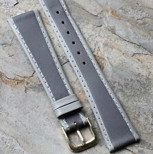 Grey European tapered Genuine Leather vintage watch band 19mm NOS 1960s/70s