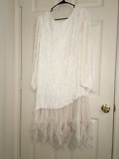 �� Vtg Stunning  Ivory White Fortuny Pleat Beaded Wedding Mother Of Bride Dress