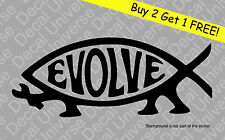 EVOLVE FISH Vinyl Decal Sticker Car Window Bumper Jesus Parody Athiest Darwin