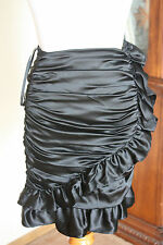 Betsey Johnson Black Silk & Spandex Pencil Skirt SX 0  NWT