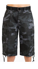 BTL MEN'S BIG & TALL CAMOFLAUGE CARGO SHORTS WITH BELT TWILL SIZE 44~56