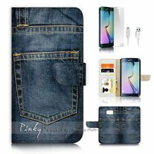 Samsung Galaxy ( S7 Edge ) Flip Wallet Case Cover P2987 Jean