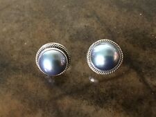 Beautiful Huge 14mm Peacock/Blue MABE PEARL And Sterling Silver Earrings