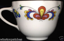 "PORSGRUND NORWAY FARMERS ROSE SCALLOPED FLAT CUP 2 5/8"" 6 OZ GOLD TRIM"