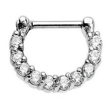 316L Surgical Steel Septum Clicker Daith Ear Cartilage Nose Ring Hoop CZ 16G
