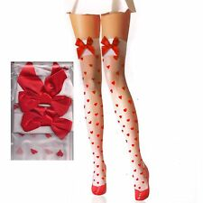Red Ribbon & Heart Shape Print White Thigh-Highs Nylon Stocking (regular)79082B