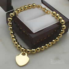 "Yellow Gold Plated Polished 6mm Bead Ball Bracelet with Heart Charm 8"" New -164"