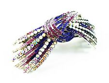 USA HAIR PIN Clip Crystal Swarovski Element Cubic Zirconia Barrette Purple Claw